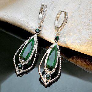 Water Drop Green CZ Stone Pierced Dangle Earrings